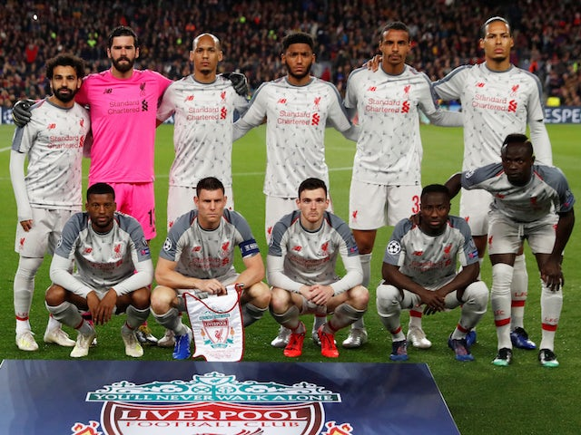 The Liverpool team line up ahead of their match against Barcelona on May 1, 2019
