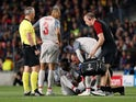Liverpool midfielder Naby Keita receives treatment during his side's Champions League clash with Barcelona on May 1, 2019