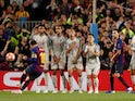 Barcelona forward Lionel Messi scores an OK free kick against Liverpool on May 1, 2019