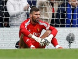 Ben Foster takes a rest during the Premier League game between Chelsea and Watford on May 5, 2019