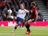 Tottenham's Christian Eriksen in action with Bournemouth's Steve Cook on May 4, 2019