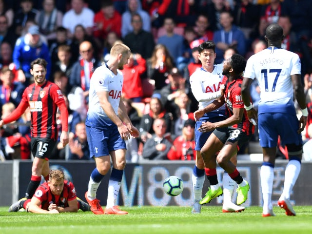 Tottenham Hotspur's Son Heung-min pushes Bournemouth's Jefferson Lerma in the Premier League on May 4, 2019.