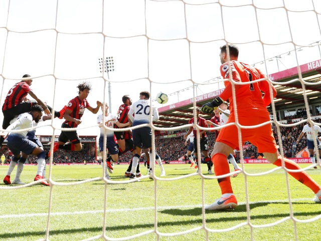 Bournemouth's Nathan Ake scores against Tottenham Hotspur in the Premier League on May 4, 2019.