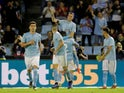 Celta Vigo's Iago Aspas celebrates scoring their second goal from the penalty spot with Hugo Mallo