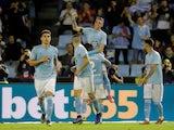 Celta Vigo's Iago Aspas celebrates scoring their second goal from the penalty spot with Hugo Mallo