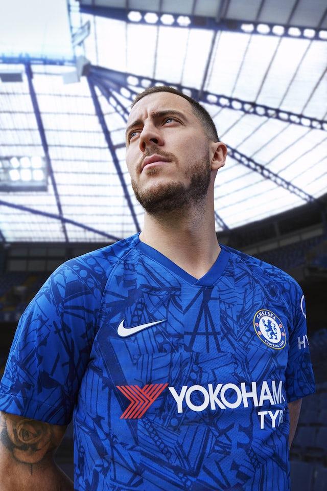 (Embargoed) Eden Hazard sports Chelsea's 2019-20 kit