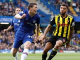 Andreas Christensen and Troy Deeney in action during the Premier League game between Chelsea and Watford on May 5, 2019