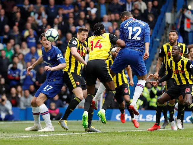 Ruben Loftus-Cheek sends in the first during the Premier League game between Chelsea and Watford on May 5, 2019