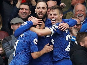 Gonzalo Higuain celebrates after adding to the tally during the Premier League game between Chelsea and Watford on May 5, 2019