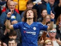 David Luiz celebrates getting the second during the Premier League game between Chelsea and Watford on May 5, 2019