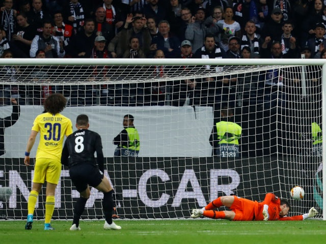 Eintracht Frankfurt's Luka Jovic scores against Chelsea in the Europa League on May 2, 2019.