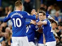 Everton's Seamus Coleman celebrates scoring their second goal against Burnley on May 3, 2019