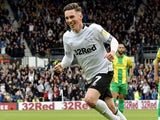 Harry Wilson celebrates scoring for Derby County on May 5, 2019