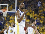 Golden State Warriors forward Kevin Durant (35) celebrates against the Houston Rockets during the second quarter in game one of the second round of the 2019 NBA Playoffs at Oracle Arena on April 28, 2019