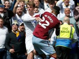 Patrick Bamford has an altercation with Anwar El Ghazi during the Championship game between Leeds United and Aston Villa on April 28, 2019