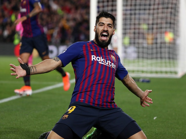 Barcelona striker Luis Suarez celebrates scoring against Liverpool on May 1, 2019