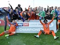 Luton Town celebrate promotion to the Championship on May 4, 2019