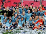 MAnchester City Women celebrate winning the Women's FA Cup on May 4, 2019