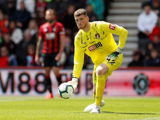 Mark Travers in action for Bournemouth against Tottenham Hotspur in the Premier League on May 4, 2019.