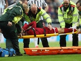 Liverpool's Mohamed Salah is stretchered off against Newcastle on May 4, 2019