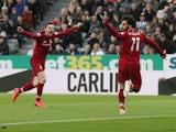 Liverpool's Mohamed Salah celebrates scoring against Newcastle on May 4, 2019