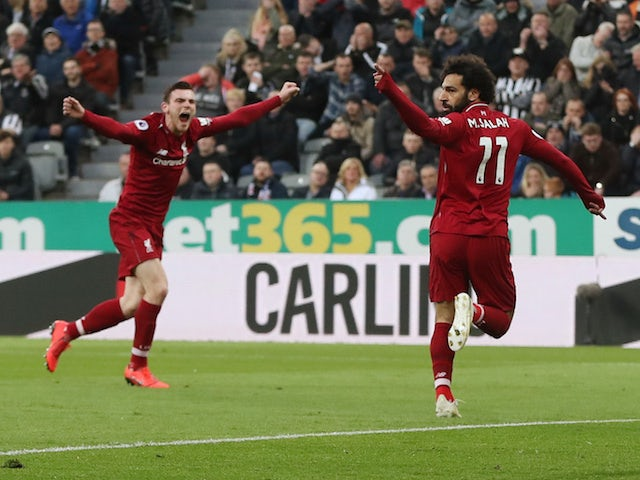 Liverpool's Mohamed Salah celebrates scoring against Newcastle on May 4, 2019