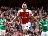 Pierre-Emerick Aubameyang scores from the spot during the Premier League game between Arsenal and Brighton & Hove Albion on May 5, 2019