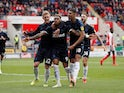 Britt Assombalonga celebrates scoring for Middlesbrough on May 5, 2019