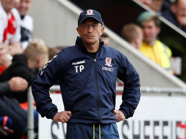 Boro boss Tony Pulis cuts a frustrated figure on May 5, 2019