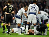Jan Vertonghen lies on the ground following a clash of heads with Tottenham Hotspur teammate Toby Alderweireld in the meeting with Ajax on April 30, 2019