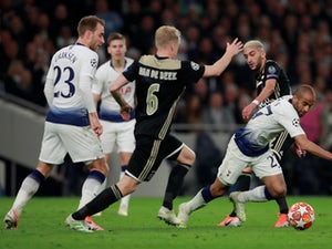 Ajax's Hakim Ziyech in action with Tottenham Hotspur's Lucas Moura in the Champions League semi-final first leg on April 30, 2019