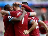 West Ham's Marko Arnautovic celebrates scoring their second goal with Michail Antonio against Southampton on May 4, 2019