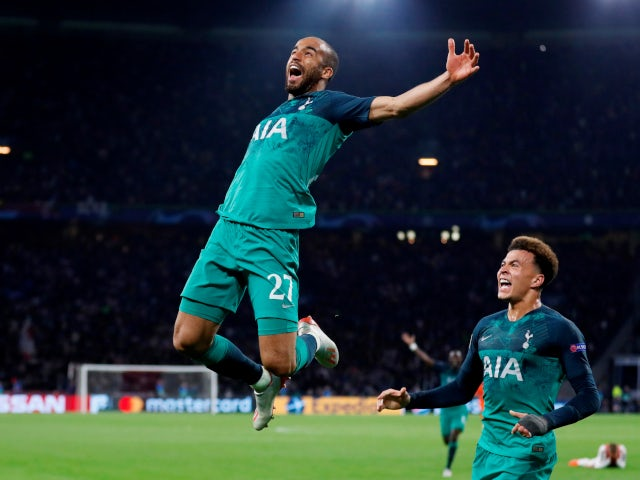 Lucas Moura celebrates his hat-trick goal as Tottenham Hotspur complete their comeback win against Ajax on May 8, 2019