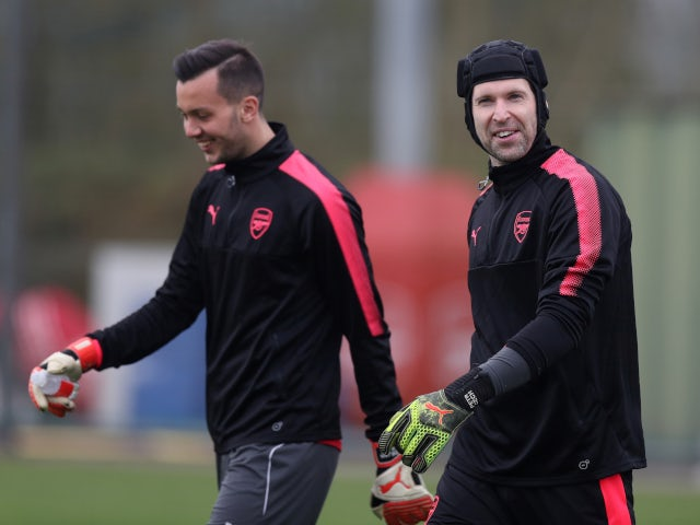 Arsenal goalkeepers Petr Cech and Deyan Iliev during training ahead of a  Europa League match in February 2018 - Sports Mole