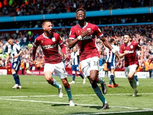 Aston Villa's Tammy Abraham celebrates scoring against West Bromwich Albion in the Championship playoffs on May 11, 2019.