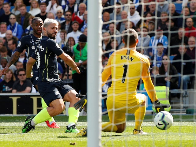 Manchester City's Sergio Aguero scores against Brighton & Hove Albion in the Premier League on May 12, 2019