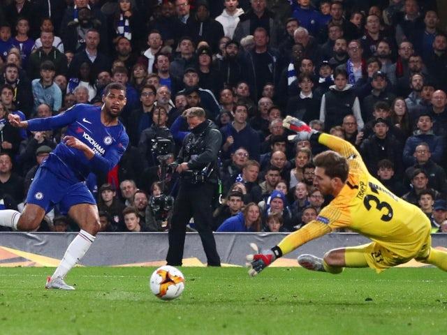 Chelsea's Ruben Loftus-Cheek scores against Eintracht Frankfurt in the Europa League on May 9, 2019.