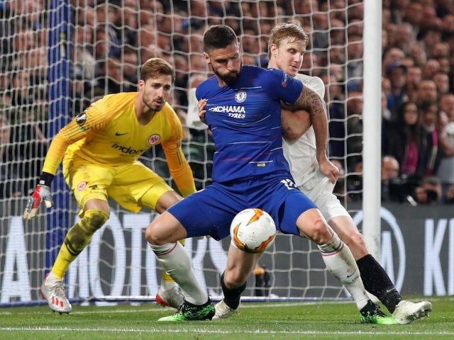 Chelsea's Olivier Giroud struggles to make an impact against Eintracht Frankfurt in the Europa League on May 9, 2019.