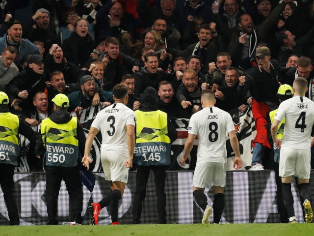 Eintracht Frankfurt celebrate Luka Jovic's goal against Chelsea in the Europa League on May 9, 2019.
