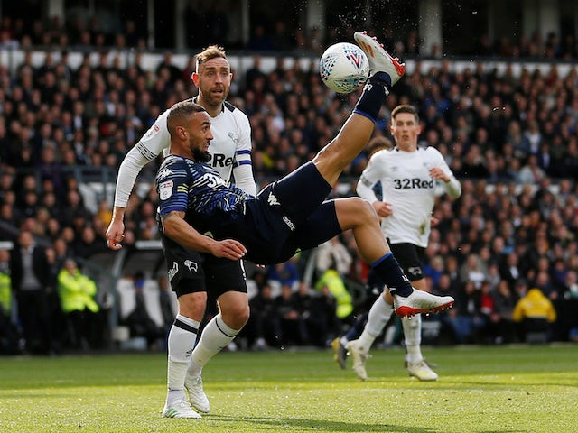 Leeds United attacker Kemar Roofe in action against Derby County in the Championship playoffs on May 11, 2019