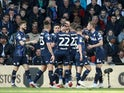 Leeds United players celebrate Kemar Roofe's goal against Derby County in the Championship playoffs on May 11, 2019