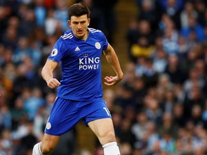 Big Harry Maguire in action during the Premier League game between Manchester City and Leicester City on May 6, 2019