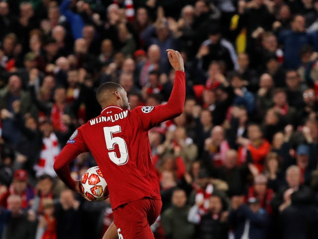 Liverpool's Georginio Wijnaldum celebrates scoring against Barcelona in the Champions League on May 7, 2019.