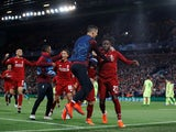 Liverpool celebrate Divock Origi's winning goal against Barcelona in the Champions League on May 7, 2019.