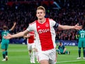 Ajax captain Matthijs de Ligt celebrates after putting his side a goal in front against Tottenham Hotspur on May 8, 2019