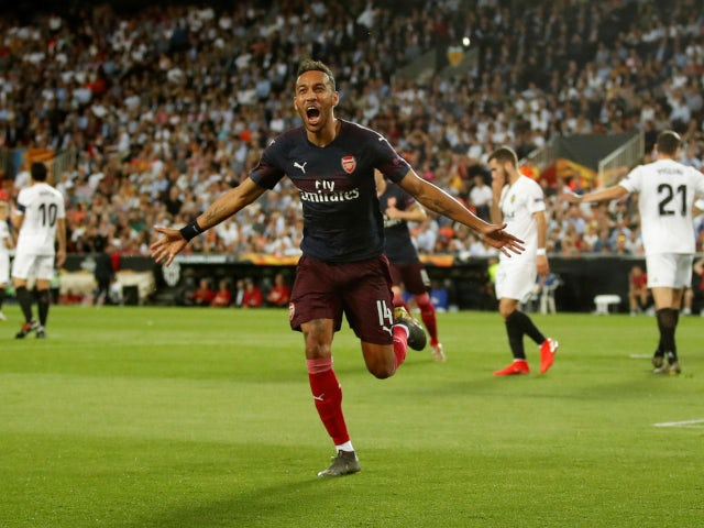 Pierre-Emerick Aubameyang celebrates after equalising for Arsenal in their Europa League semi-final against Valencia on May 9, 2019