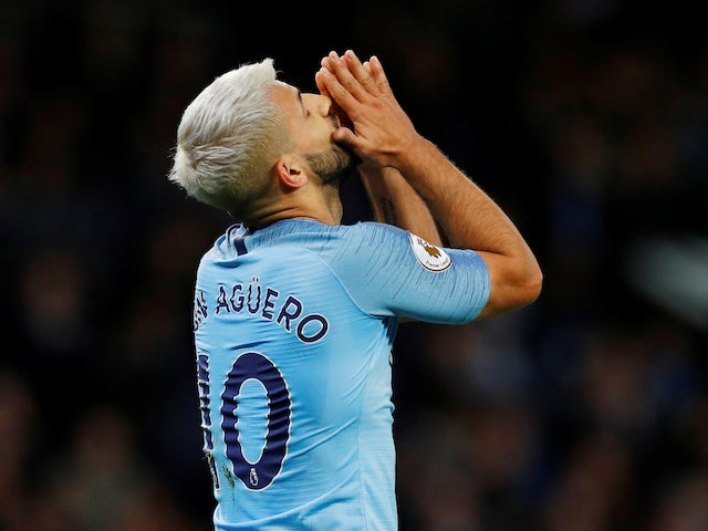 Sergio Aguero reacts to a missed chance during the Premier League game between Manchester City and Leicester City on May 6, 2019