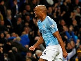 Vincent Kompany celebrates his crucial goal during the Premier League game between Manchester City and Leicester City on May 6, 2019