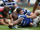 Bath's Beno Obano scores a try against Leicester Tigers on May 18, 2019