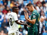 Real Madrid's Vinicius Junior argues with Real Betis's Zouhair Feddal in La Liga on May 19, 2019